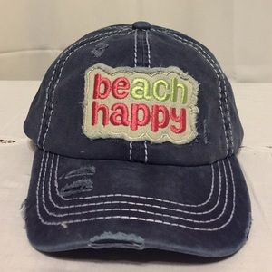 BEACH HAPPY Ponytails Distressed Baseball Cap Blue